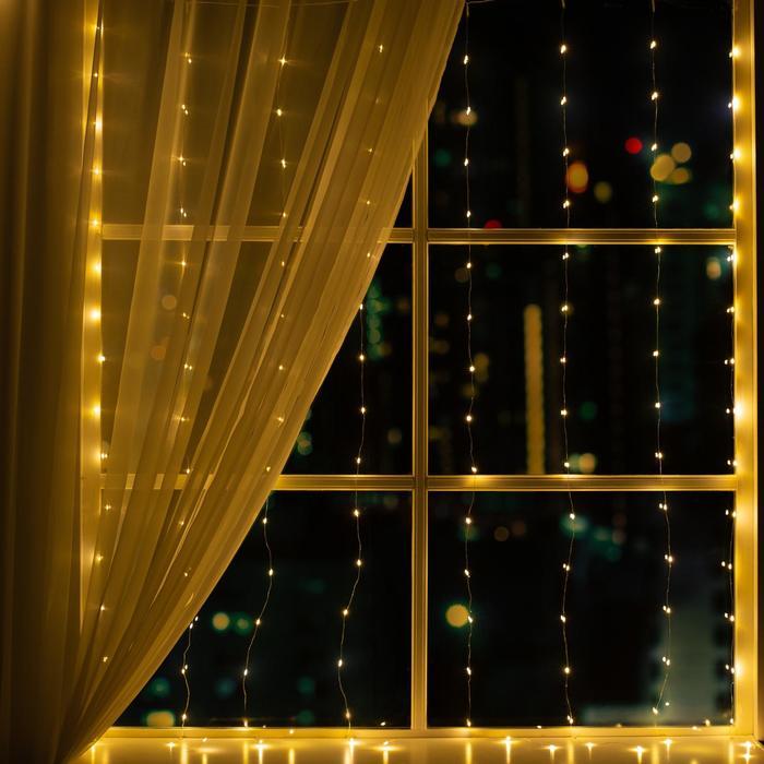 """Гирлянда """"Занавес"""" 1.6 х 1.6 м , IP44, серебристая нить, 160 LED, свечение тёплое белое, 8 режимов, 220 В"""