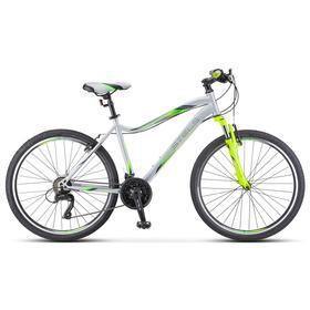 "Велосипед 26"" Stels Miss-5000 V, K010, цвет cеребристый/салатовый, размер 18"""