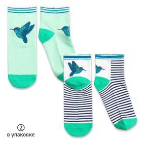 Носки для девочек, размер 16-18 см, цвет белый, изумрудный, 2 пары