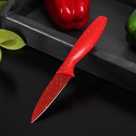 Нож с антиналипающим покрытием Доляна «Зефир», для овощей, лезвие 9 см, цвет красный