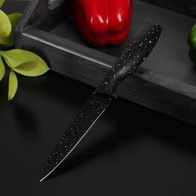 Нож с антиналипающим покрытием Доляна «Зефир», универсальный, лезвие 12,5 см, цвет чёрный