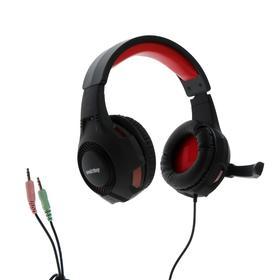 Наушники Smartbuy RUSH HAWK, игровые, микрофон, 3.5 мм + USB, 2.5 м, чёрно-красные Ош
