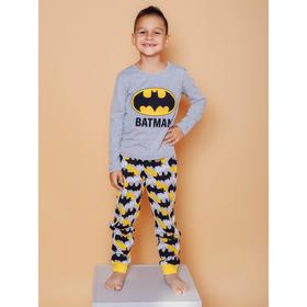 Пижама для мальчиков Batman, рост 110 см, цвет серый меланж