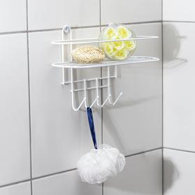 Полка для ванной овальная, 4 крючка, 33×12,5×21 см, цвет белый Ош