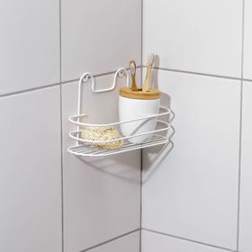 Полка для ванной овальная, 26,5×9,5×13 см, цвет белый Ош