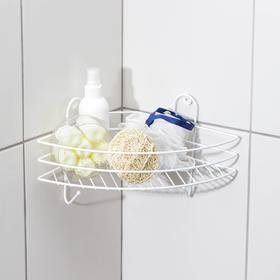 Полка для ванной угловая, 23×23×19 см, цвет белый Ош