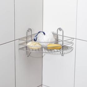 Полка для ванной угловая, 23×23×19 см, цвет хром Ош