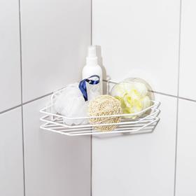 Полка для ванной угловая, 20,5×20,5×6,5 см, цвет белый Ош