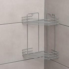 Полка для ванной угловая 2-х ярусная, 20,5×20,5×31,5 см, цвет хром Ош