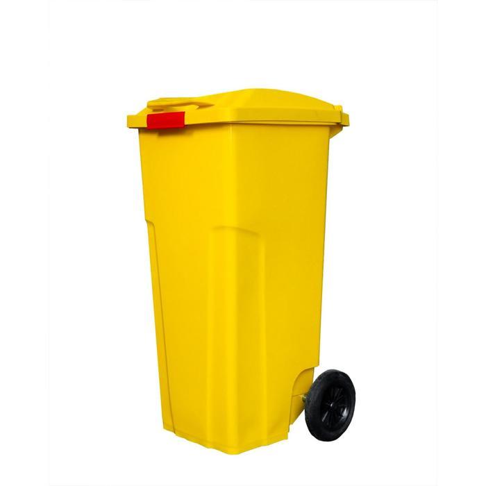 Мусорный контейнер с застежкой 120л желтый