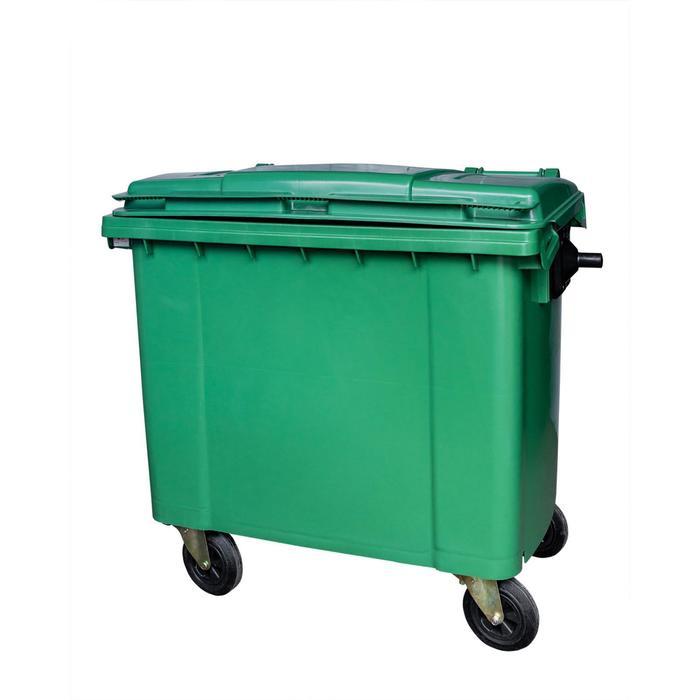 Мусорный контейнер на колёсах 660л зеленый