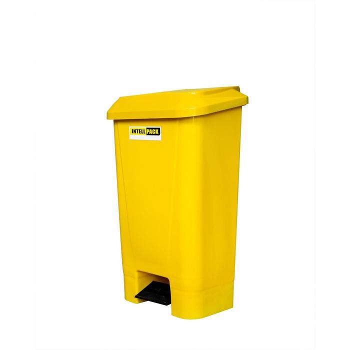 Мусорный контейнер 60л с педалью желтый