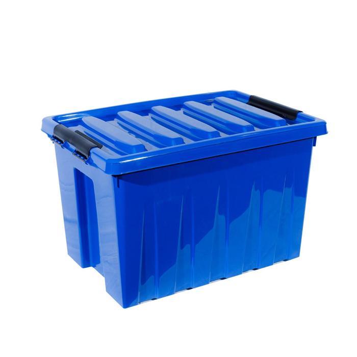 Контейнер на роликах с крышкой 580х390х350 синий 70 л