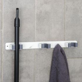 Держатель для швабр 35×5×3 см, 3 отделения, крепление саморезы в копмлекте Ош