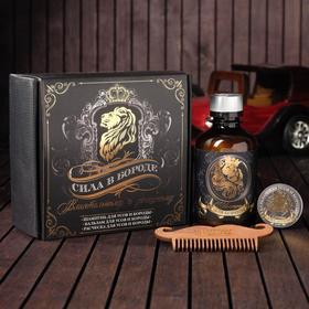 Набор шампунь, бальзам и расческа для усов и бороды «Сила в бороде», 14 х 15 см Ош