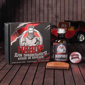 Набор шампунь, воск и расческа для усов и бороды «Для правильного ухода», 14 х 15 см Ош