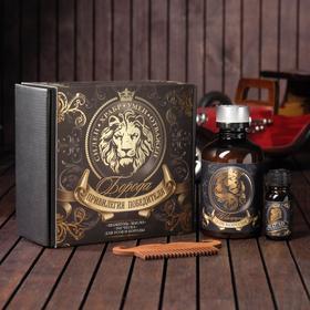 Набор шампунь, масло и расческа для усов и бороды «Привилегия победителя», 14 х 15 см Ош