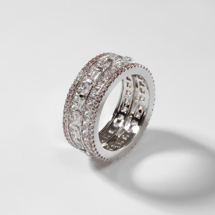 """Кольцо """"Богатство"""" величие, цвет белый в серебре, размер 17"""