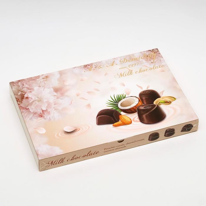 Ассорти конфет молочного шоколада (миндаль, фисташка, кокос-миндаль), 142 г