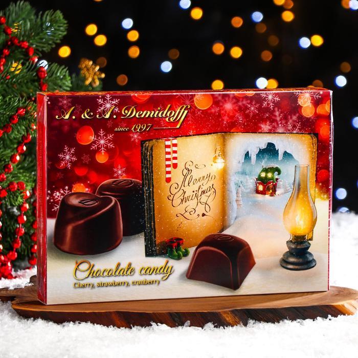 Ассорти конфет из тёмного шоколада (вишнёвое варенье, клюква, клубника), 142 г