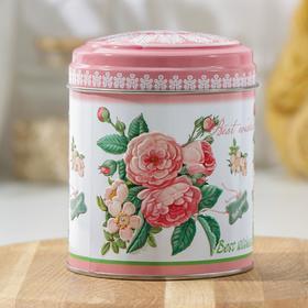 Банка для сыпучих продуктов Рязанская фабрика жестяной упаковки «Садовые цветы», d=10 см, h= 11 cм, V= 0,8 л, МИКС