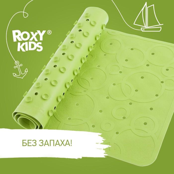 Антискользящий резиновый коврик для ванны ROXY-KIDS 34,5х76 см салатовый (с отверстиями)