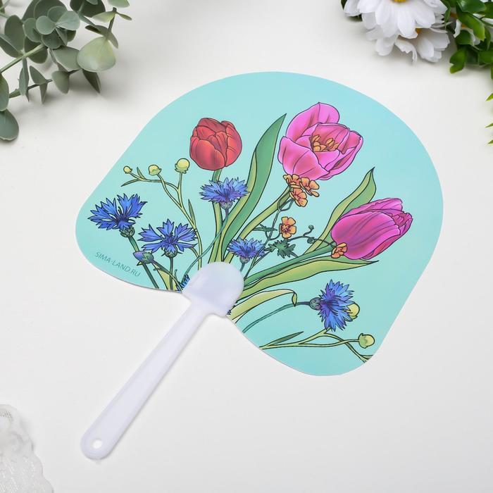 Веер-опахало Тюльпаны и васильки 21х13 см