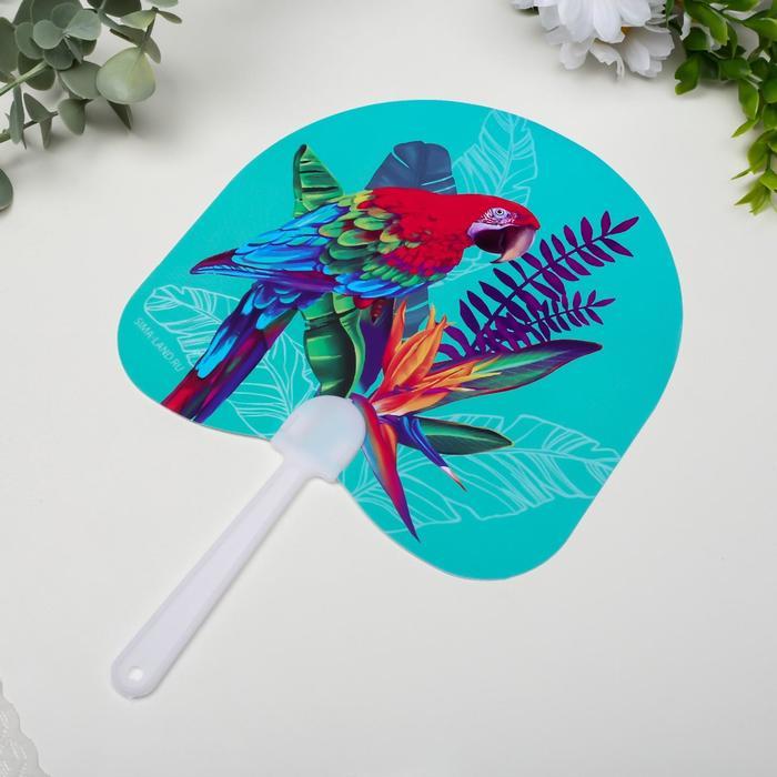 Веер-опахало Попугай Ара и экзотический цветок 21х13 см