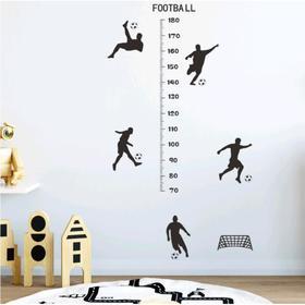 Наклейка пластик интерьерная чёрная ростомер 'Футболисты' 30х90 см Ош