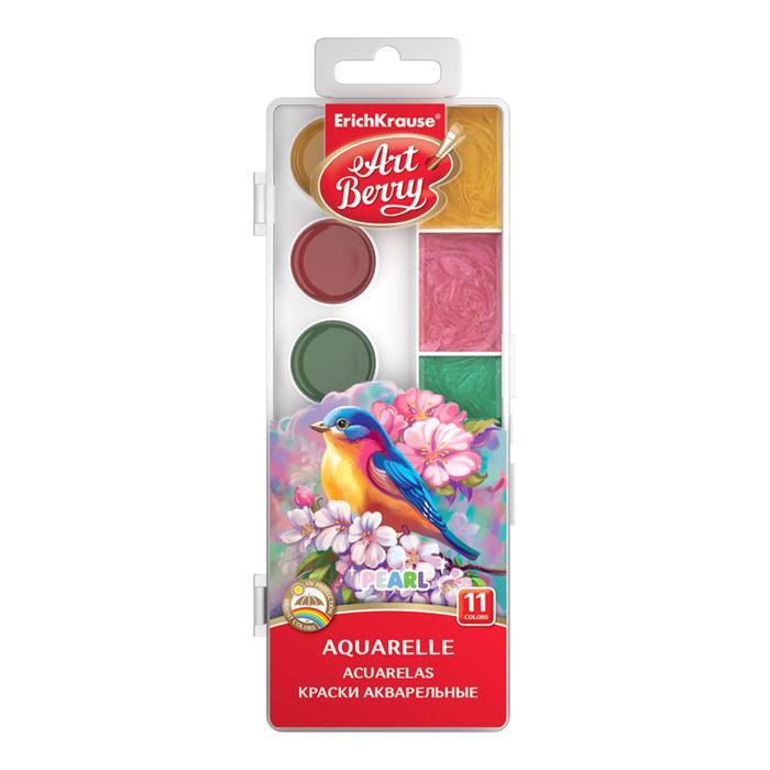 Акварель 11 цветов, ErichKrause, перламутровая, с УФ-защитой яркости, с увеличенными кюветами XXL, пластик, без кисти, европодвес
