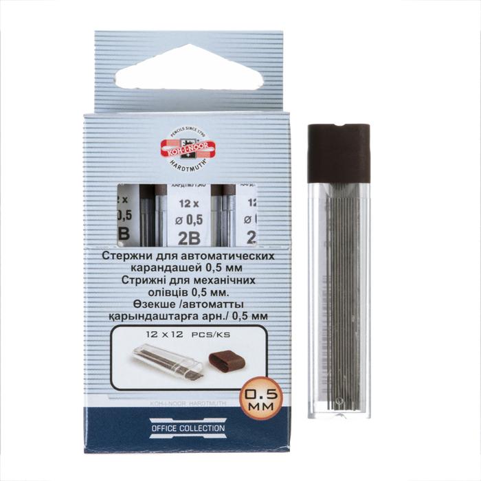 Грифели для механических карандашей 0.5 мм, Koh-I-Noor 4152 2B, 12 штук, в футляре