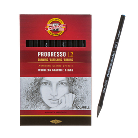 Карандаш Koh-I-Noor PROGRESSO 8912 4В, акварельный художественный, чёрнографитный, цельнографитный Ош