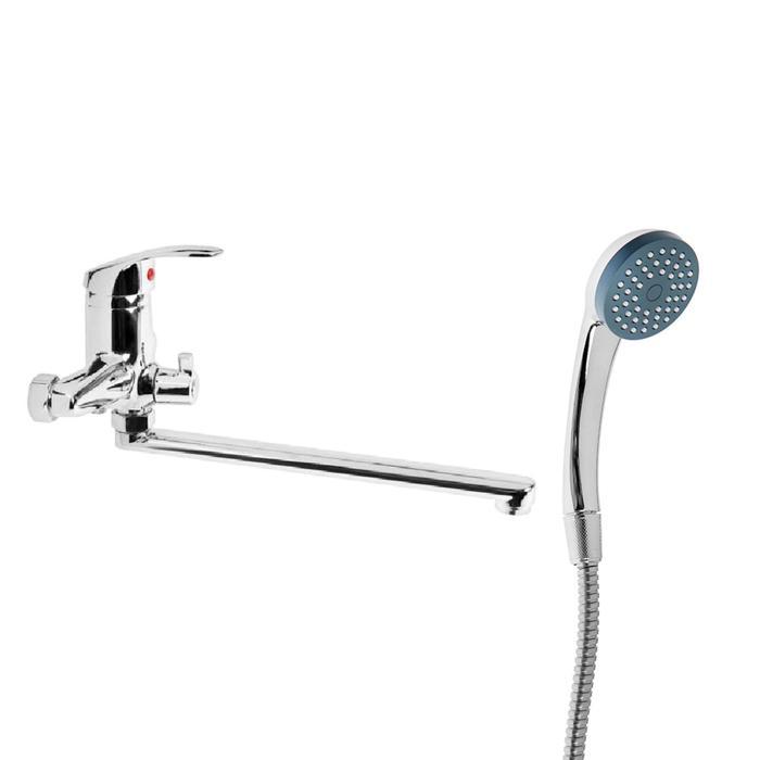 """Cмеситель для ванны """"Эверест"""" B22-022, прямой плоский излив, с душевом набором, хром"""