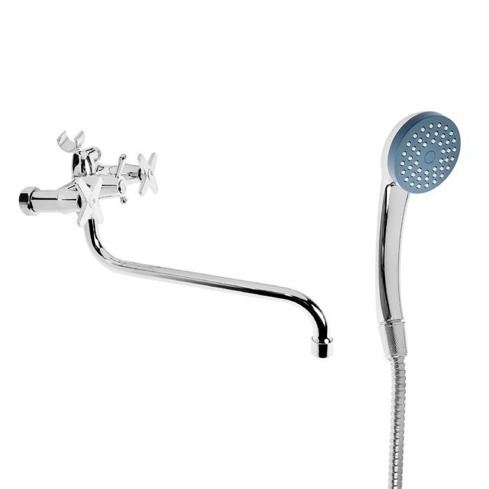 """Cмеситель для ванны """"Эверест"""" B22-069, двухвентильный, круглый излив, душевой набор, хром"""