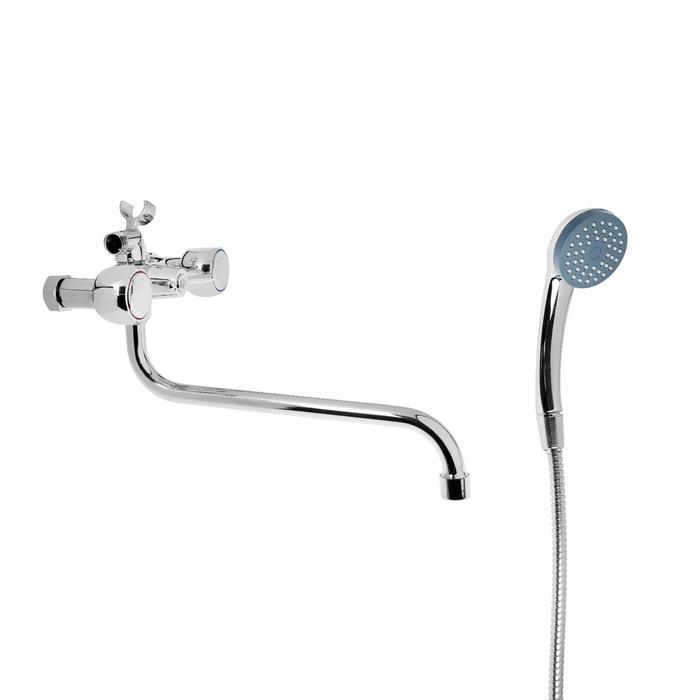 """Cмеситель для ванны """"Эверест"""" B22-336, двухвентильный, круглый излив, душевой набор, хром"""