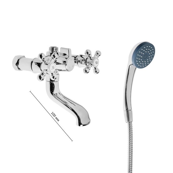 """Cмеситель для ванны """"Эверест"""" B30-333, двухвентильный, короткий излив, душевй набор, хром"""