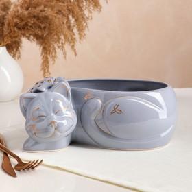 "Органайзер ""Котик Британский"", серый, золотистая роспись, 24 х 17 х 12 см"