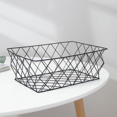 Корзина для хранения из металла Доляна, 25×18×9,5 см, цвет чёрный