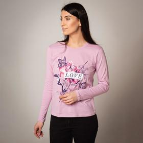 Лонгслив женский, цвет светло-розовый, размер 54 Ош