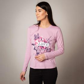 Лонгслив женский, цвет светло-розовый, размер 56 Ош