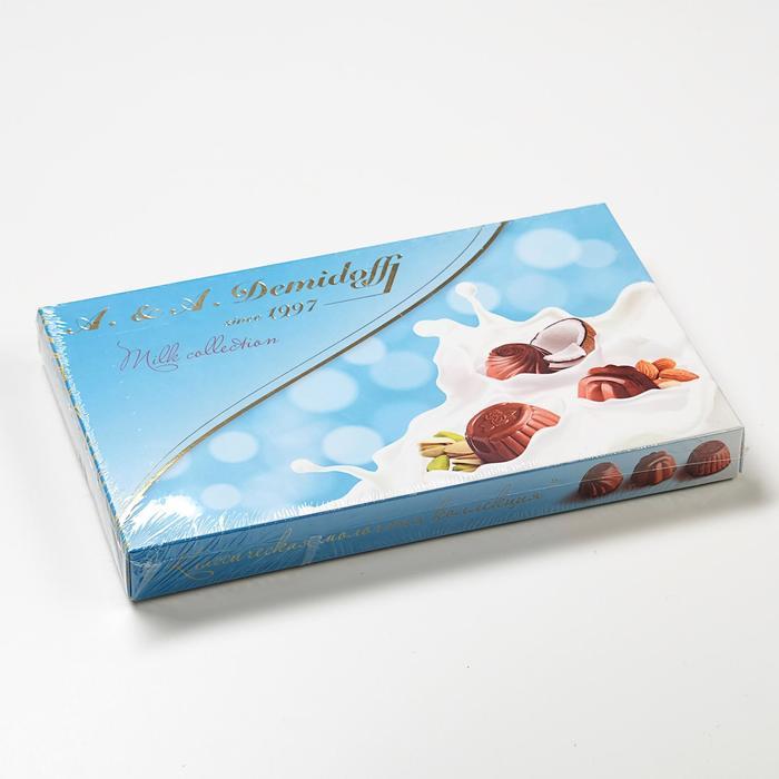 Ассорти конфет из молочного шоколада (миндаль, фисташка, кокос-миндаль), 110 г