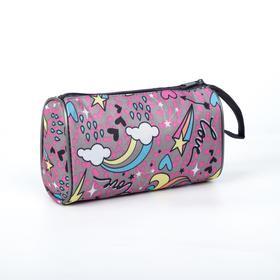 Косметичка-сумочка, отдел на молнии, цвет розовый, «Единорог»