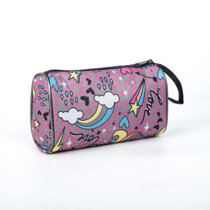 Косметичка-сумочка, отдел на молнии, цвет розовый, Единорог