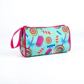 Косметичка-сумочка, отдел на молнии, цвет голубой, «Сладости»