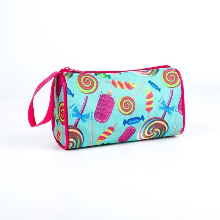 Косметичка-сумочка, отдел на молнии, цвет голубой, Сладости