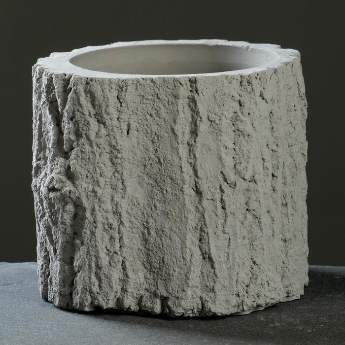 Кашпо «Пень», серое, 14 х 12 см