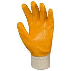 Перчатки DOG облитые нитрилом (манжета частично), цвет жёлтый РЧ, размер 10 Ош