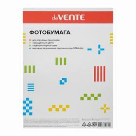 Фотобумага A4 для струйных принтеров deVENTE 180 г (20 листов), глянцевая, односторонняя, в пластиковом пакете с европодвесом