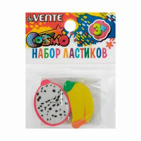 Ластик deVENTE дизайн Fruits, синтетика, 2 штуки, цветной, в пластиковом пакете с европодвесом