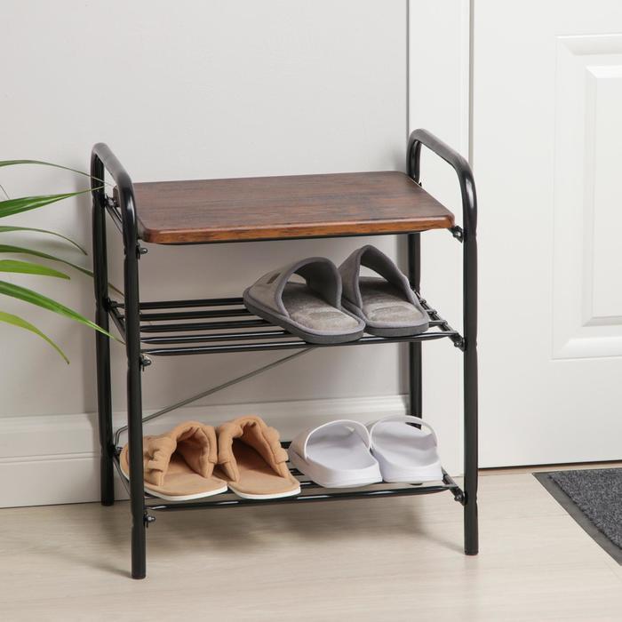 Банкетка для обуви с сиденьем Nika Б2/ДА , цвет чёрный